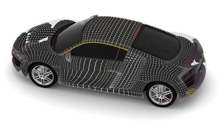 3d car wire model on a white background  photo