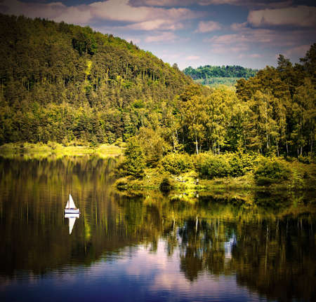 Yacht on o forested hill, pilichowice in Poland photo