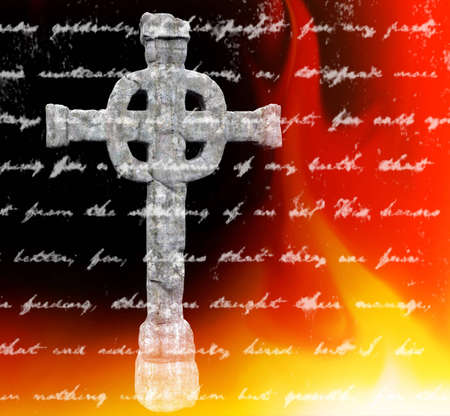 Celtic cross isolated on the background with ancient scripture photo