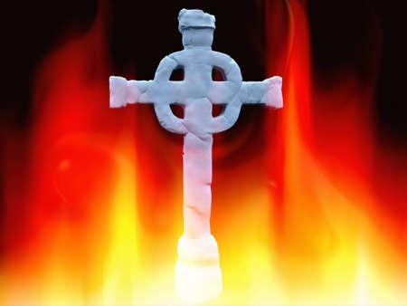 Celtic cross  on fire photo