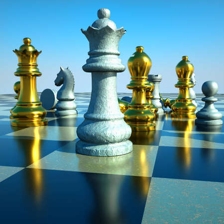 Chess battle -defeat Stock Photo