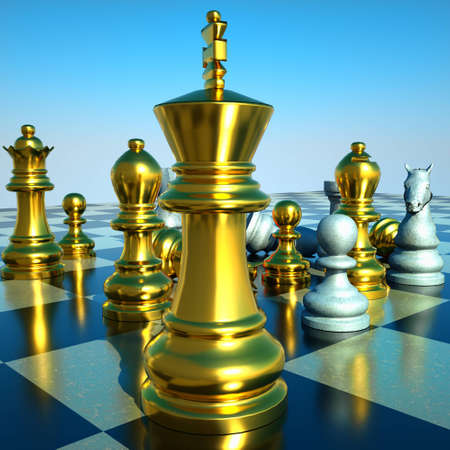 mind games: Chess battle -defeat Stock Photo