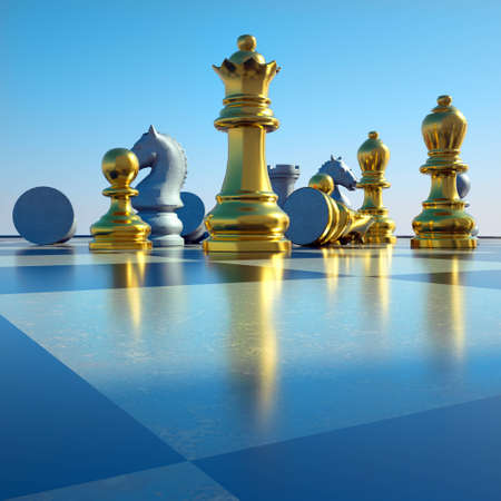 Chess battle -defeat Stock Photo