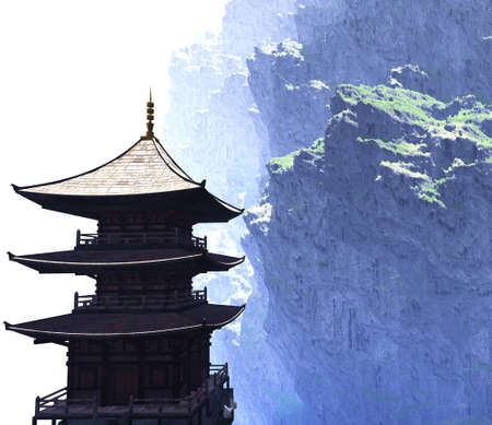 japanese temple: Zen buddhist temple in the mountains Stock Photo