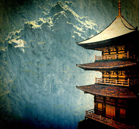 tibet: Zen buddhist temple in the mountains Stock Photo