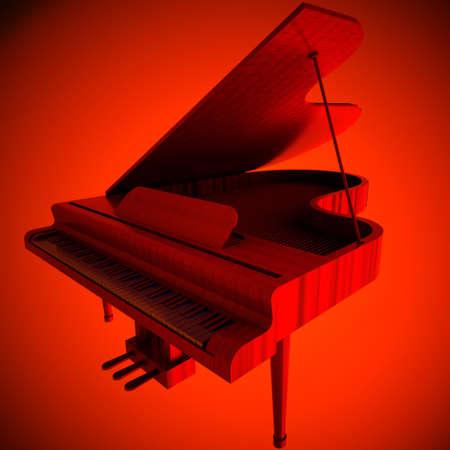 Red grand piano photo