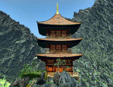 chinese temple: Zen buddhist temple in the mountains Stock Photo
