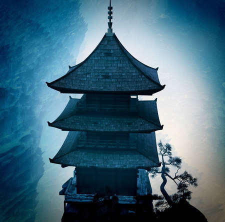 mystique: Zen buddhist temple in the mountains Stock Photo