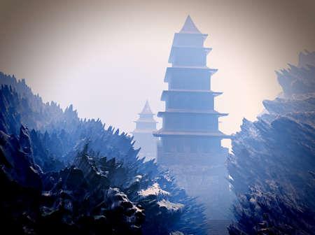 tibet: Zen buddhist temple in the mountains Stock Photo