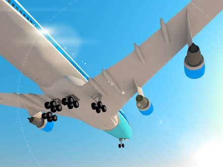 passanger: Big passanger airplane taking off