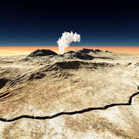 eruptive: Volcanic eruption  on the huge fault