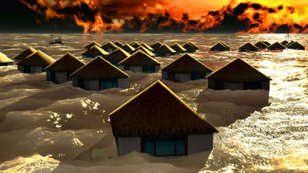 Tsunami destroying bungalows photo