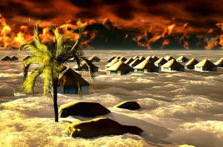 Tsunami destroying bungalows photo