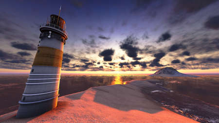 Beautiful lighthouse by the ocean at sunset photo