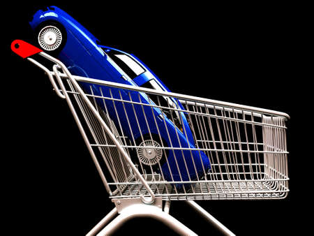 Shopping cart with  car inside Stock Photo - 13668341