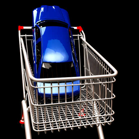 Shopping cart with  car inside Stock Photo - 13668334