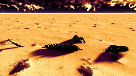 corpses: Dinosaur bones lying on desert Stock Photo