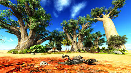 Dinosaur bones lying on African desert Stock Photo - 13907677