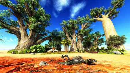 Dinosaur bones lying on African desert Stock Photo - 13907677