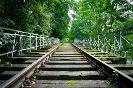 dilapidated: Dilapidated train track in forest