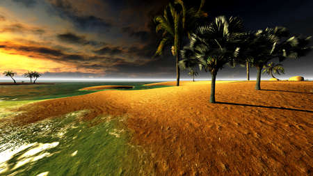 Hawaiian sunset in tropical paradise photo