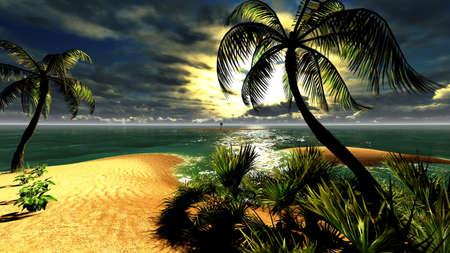 clima tropical: Puesta de sol en el paraíso tropical de Hawai