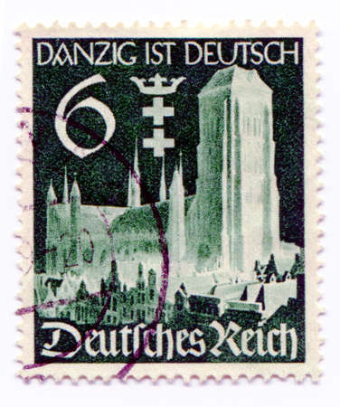 a war historian: GERMANY - CIRCA 1938: A stamp printed in Germany   showing the city Gdansk taken over by Nazi Germans , circa 1938
