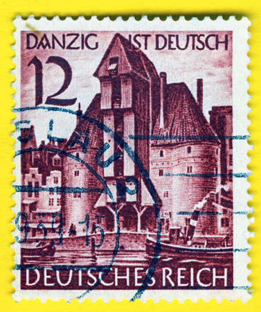 philatelic: GERMANY - CIRCA 1938: A stamp printed in Germany showing the city Gdansk taken over by Nazi Germans , circa 1938
