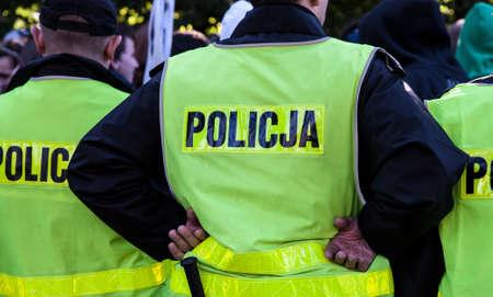 Politie-optreden op straat Stockfoto