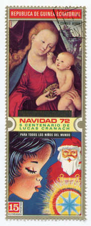Madonna with Jesus child on postage stamp, circa 1971