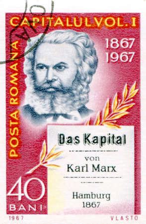 sociologist: Postage stamp printed in Romania  of Karl Marx