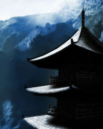 Zen buddhist temple in the mountains Stock Photo