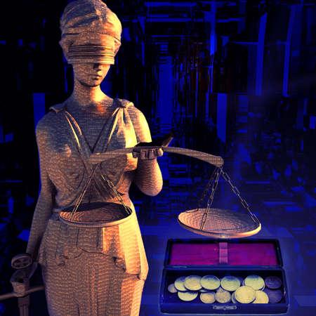 estatua de la justicia: Themis y monedas