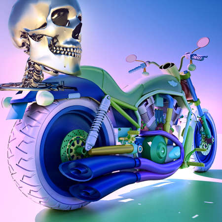 Human skleton on motorbike photo