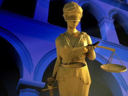 orden judicial: Themis en los tribunales Foto de archivo