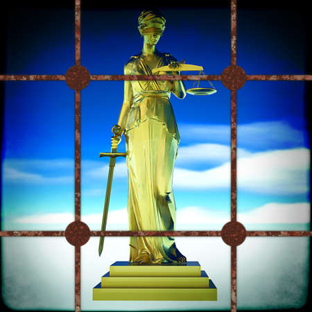 Themis behind bars Stock Photo - 15698761