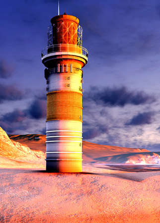 lighthouse by the ocean at sunset photo