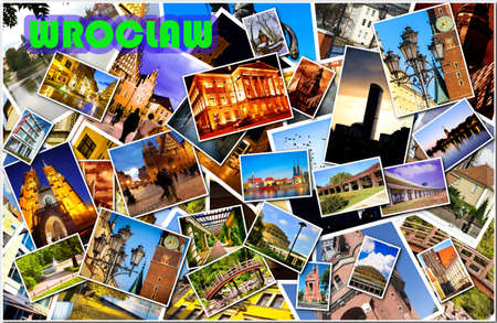 European city in collage photo