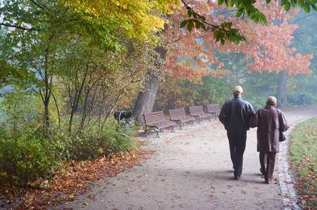 parejas caminando: Senior pareja en el parque