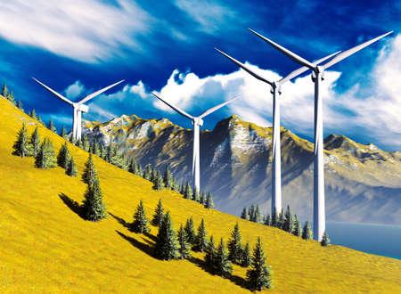 onshore: Wind turbines onshore   Stock Photo