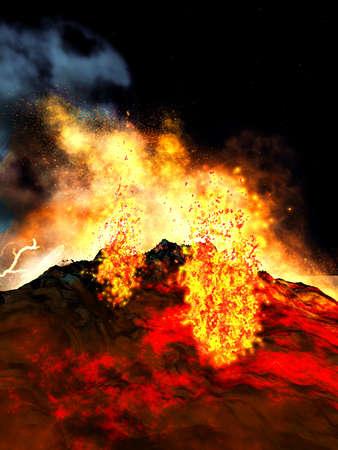 volcanic: Volcanic eruption Stock Photo
