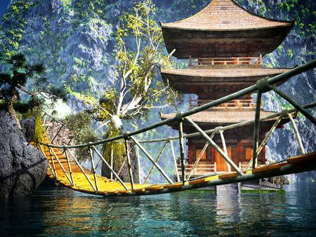 ponte giapponese: Tempio buddista in montagna