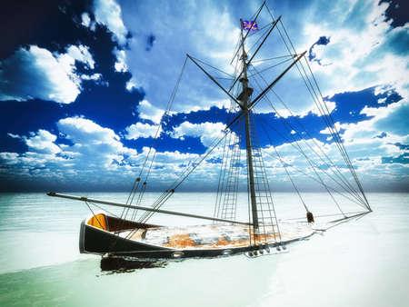 frigate: Sunken old pirate frigate  Stock Photo