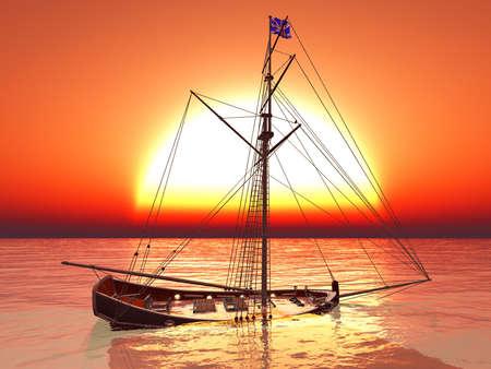 Sunken old pirate frigate Stock Photo - 18145860