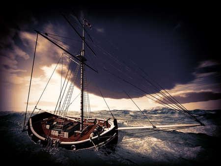 cielo tormenta: Barco pirata en tiempo tormentoso