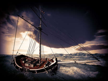 schooner: Pirate ship on stormy weather Stock Photo