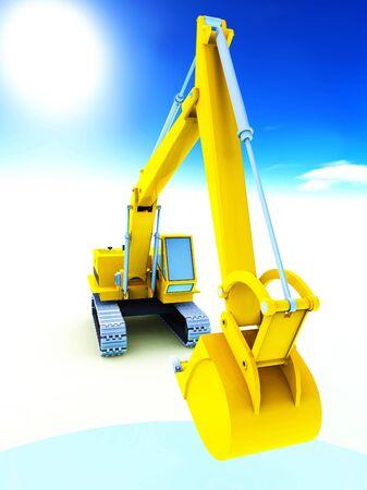 Yellow excavator photo