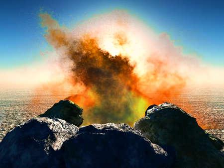 eruptive: Volcanic eruption on island