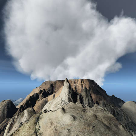 erupt: Volcanic eruption on island