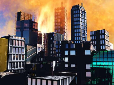 Armageddon  scene in city photo